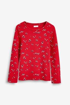 Next Girls Red Floral Long Sleeve Rib T-Shirt (3-16yrs) - Red