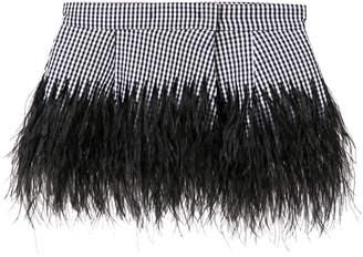 check feather peplum belt