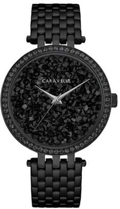 Bulova CARAVELLE Designed by Caravelle Women's Modern Black Crystal Rock Dial Black-Tone Stainless Steel Bracelet Watch 38mm