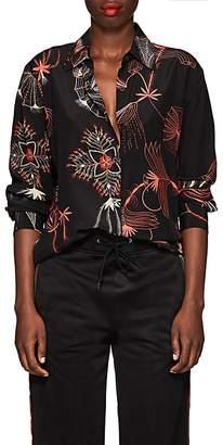 Dries Van Noten Women's Floral-Sketch Silk Blouse