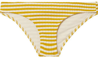 Solid & Striped The Elle Striped Ribbed Stretch-knit Bikini Briefs - Mustard