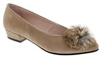 Patricia Green Sandy Genuine Rabbit Fur Pompom Flat