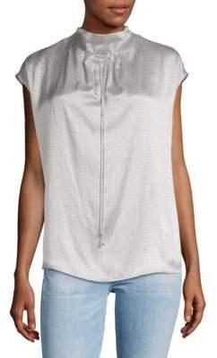 Giorgio Armani Cap-Sleeve Silk Tie Blouse