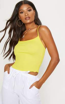 PrettyLittleThing Yellow Crinkle Textured Cami Top
