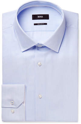 HUGO BOSS Blue Gelson Striped Cotton Shirt