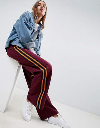 Asos DESIGN Tailored Color Block Track Pant with Wide Leg