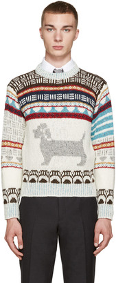 Thom Browne Ivory Fair Isle Hector Sweater $620 thestylecure.com