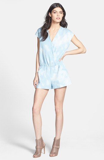 Line & Dot Tie Dye Perforated Chambray Romper