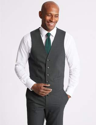 Marks and Spencer Charcoal Textured Slim Fit Waistcoat