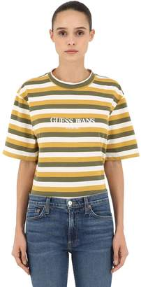 GUESS U.S.A. STRIPED COTTON JERSEY T-SHIRT