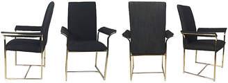 One Kings Lane Vintage Brass & Black Dining Chairs - Set of 4 - Tobe Reed
