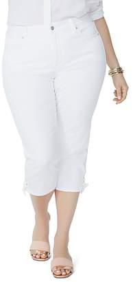 NYDJ Plus Lace-Up Cuff Skinny Capri Jeans in Optic White