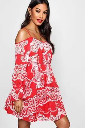 boohoo Crochet Off The Shoulder Skater Dress