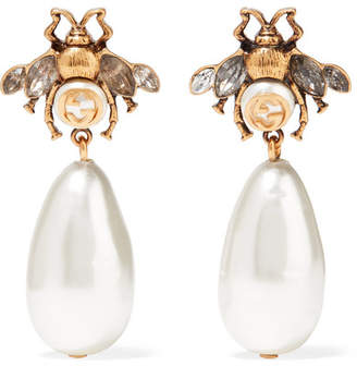 Burnished Gold-tone, Faux Pearl And Crystal Earrings - one size Gucci