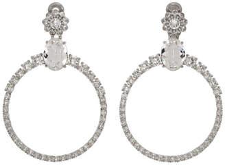 Miu Miu Silver Round Crystal Hoop Earrings