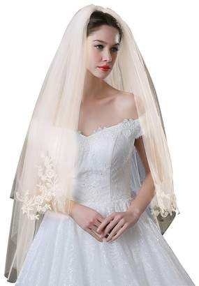 WDING Women's Lace Applique Bridal Wedding Veil with Comb 2 Tiers Champagne Wedding Accessories
