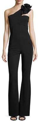 La Petite Robe di Chiara Boni Beba One-Shoulder Jersey Flare-Leg Jumpsuit $695 thestylecure.com