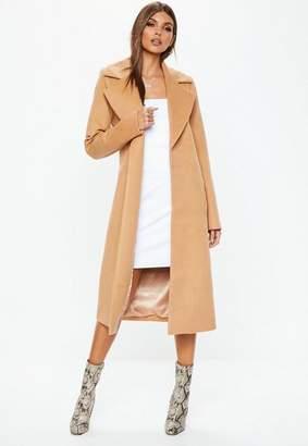 Missguided Camel Longline Formal Coat