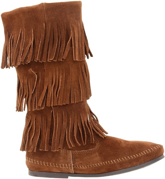Minnetonka - Calf Hi 3-Layer Fringe Boot Women's Pull-on Boots 6
