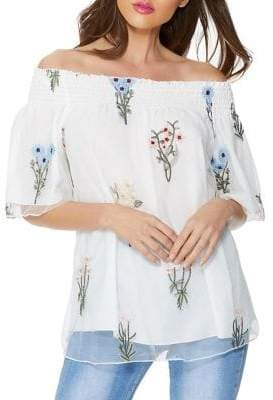 Quiz Embroidered Off-the-Shoulder Chiffon Top