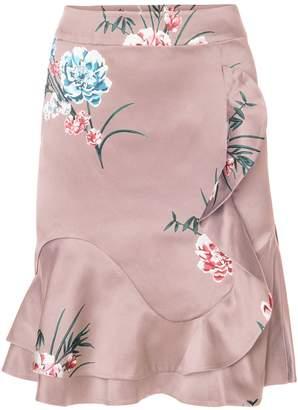 EGO SOLEIL - Ruffled Silk Pencil Skirt