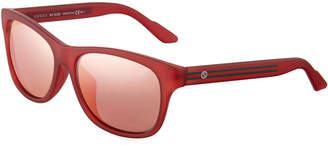 Gucci Plastic Square Sunglasses, Red
