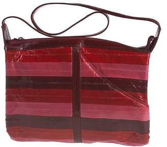 Lee Sands Multi-Color Striped Eelskin Zip Top Handbag
