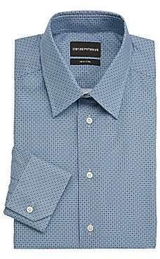Emporio Armani Men's Micro-Pattern Cotton Dress Shirt