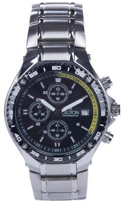 Croton Men's Stainless Chronograph with Yellow Accented Black Patterned Dial