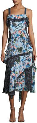 Tanya Taylor Watercolor Floral-Print Sleeveless Tiered Midi Dress