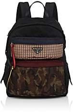 Prada Men's Print-Pocket Leather-Trimmed Backpack-Dk. Blue