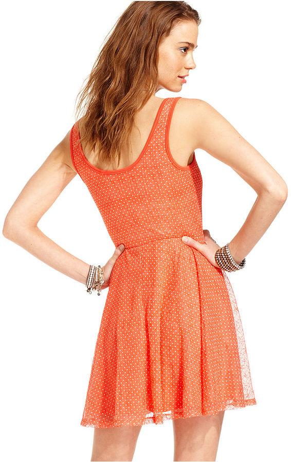 American Rag Juniors Dress, Sleeveless Polkadot-Print Skater