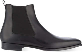 Magnanni Mens Black Luxury Leather Chelsea Boots