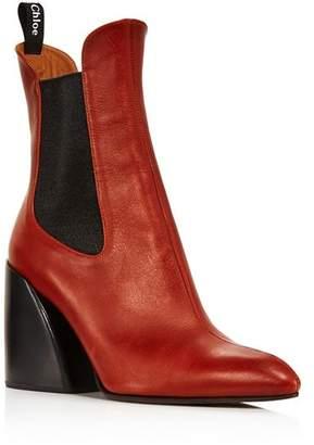 Chloé Women's Wave Leather Block-Heel Ankle Booties