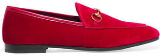 Gucci Jordaan Horsebit-detailed Leather-trimmed Velvet Loafers - Red