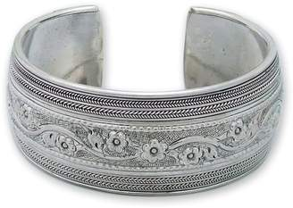 """Novica Artisan Crafted Sterling """"Floral Imagination"""" Cuff"""
