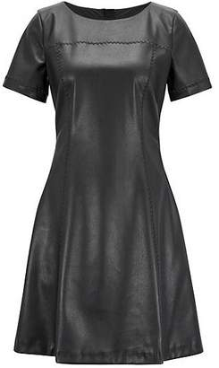 HUGO BOSS Faux-leather A-line dress with embroidery details