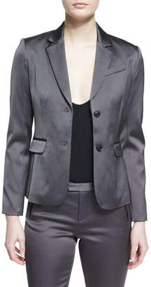 ATM Anthony Thomas Melillo Stretch Satin Two-Button Blazer, Dark Gray