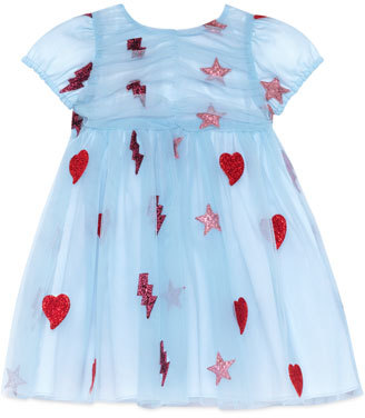 Gucci Cap-Sleeve Embellished Tulle Dress, Light Blue, Size 18-36 Months $815 thestylecure.com