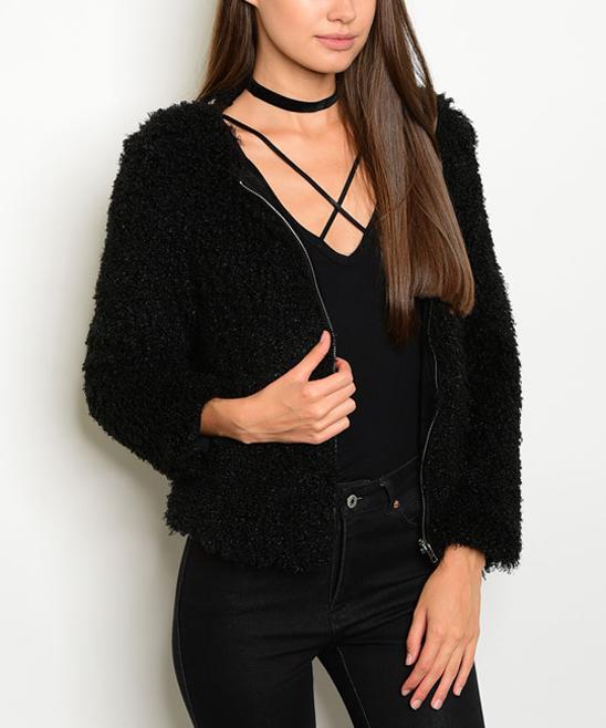 Black Faux Fur Full-Zip Jacket