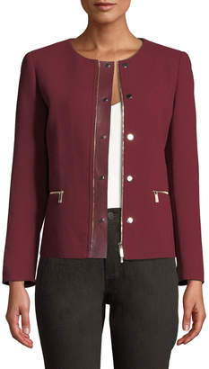 Lafayette 148 New York Kerrington Leather-Trim Jacket