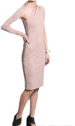 Qiangjinjiu Womens Solid Color One Shoulder Evening Party Bodycon Slim Midi Dress L