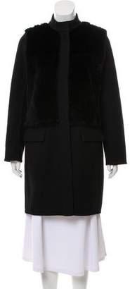 Vince Fur-Trimmed Wool Coat