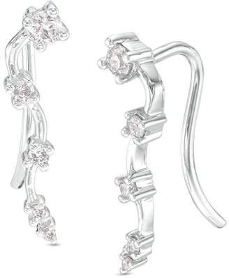 Zales 1/5 CT. T.W. Diamond Wavy Crawler Earrings in 10K White Gold