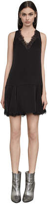 BCBGMAXAZRIA Mamie Lace-Trimmed Mini Dress