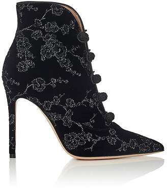 Gianvito Rossi Women's Empress Embroidered Velvet Ankle Booties