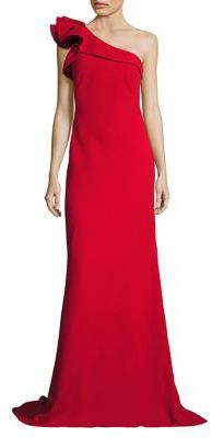 Carmen Marc Valvo Ruffle Crepe One-Shoulder Gown $745 thestylecure.com