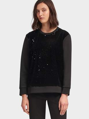 DKNY Sequined Velvet-Front Sweatshirt