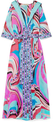 Emilio Pucci Parrots Hooded Printed Silk-chiffon Robe - Pink