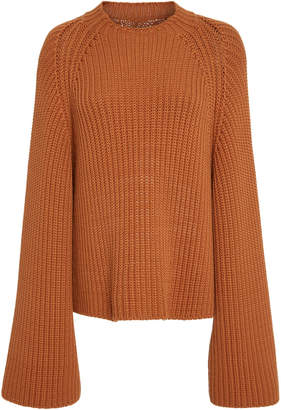 Rosetta Getty Cropped Rib Knit Flared Sweater